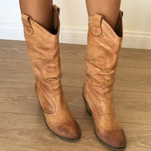 ALDO Western Slouch Leather Cowboy Boots
